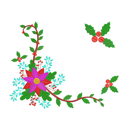 Christmas Motifs-Poinsettia Flower Machine Embroidery Designs