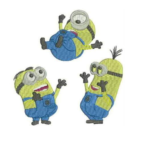 3 Happy Minions - Machine Cartoon Embroidery Designs