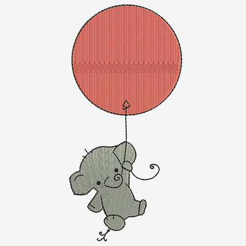 Baby Elephant Flying High With Balloon Machine Embroidery Designs