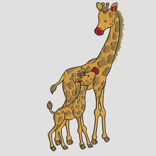 Baby and Mother Giraffe Machine Embroidery Designs