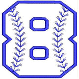 Baseball Number Eight Machine Embroidery Designs