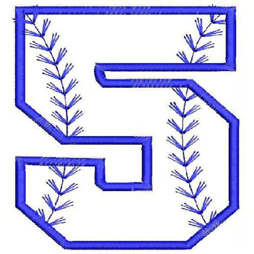 Baseball Number Five Machine Embroidery Designs