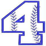 Baseball Number Four Machine Embroidery Designs