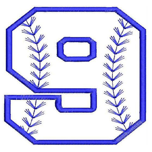 Baseball Number Nine Machine Embroidery Designs