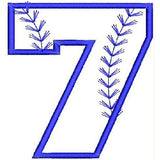 Baseball Number Seven Machine Embroidery Designs