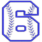 Baseball Number Six Machine Embroidery Designs