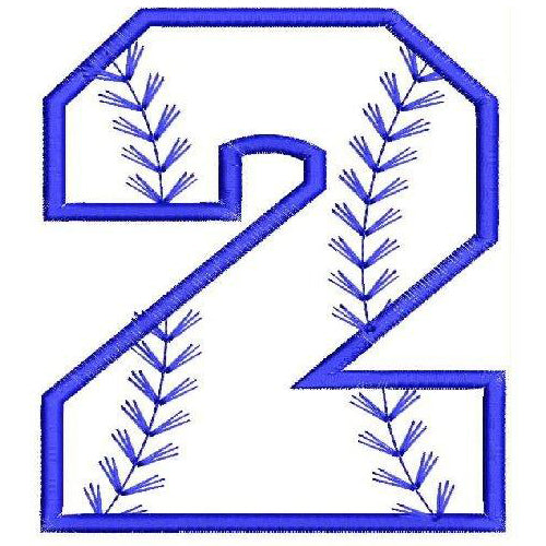 Baseball Number Two Machine Embroidery Designs