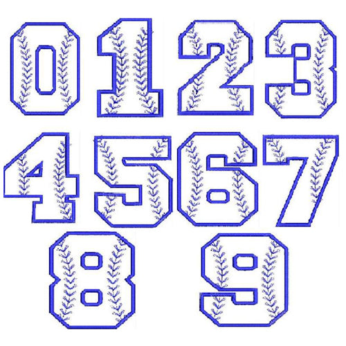 Baseball Number Chart Machine Embroidery Designs