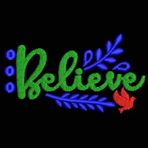 Believe Filled Stitches Design 1049