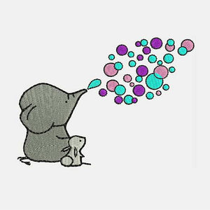 Bubbles Bubbles Elephant and Bunny - Machine Embroidery Designs