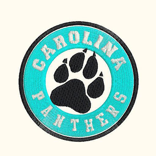 Carolina Panthers Round Tag with Logo Machine Embroidery Designs 368F