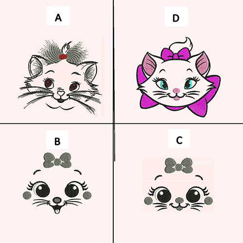 Cat Faces Machine Embroidery Designs 611