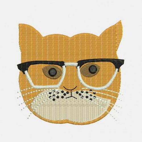 Cats With Glasses Machine Embroidery Designs 295A