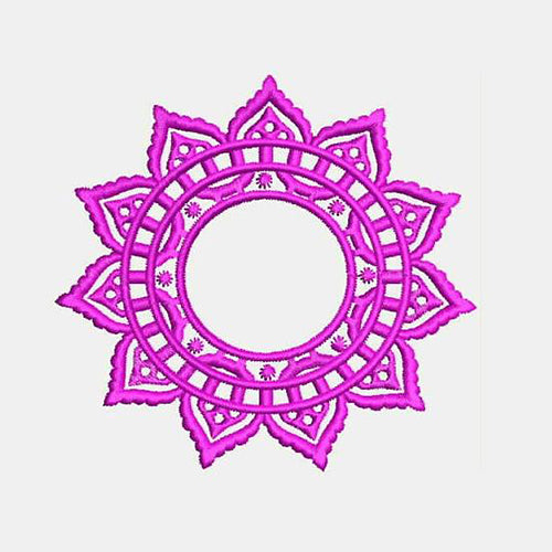 Crochet Lace Circle Monogram Frame Machine Embroidery Designs 578G