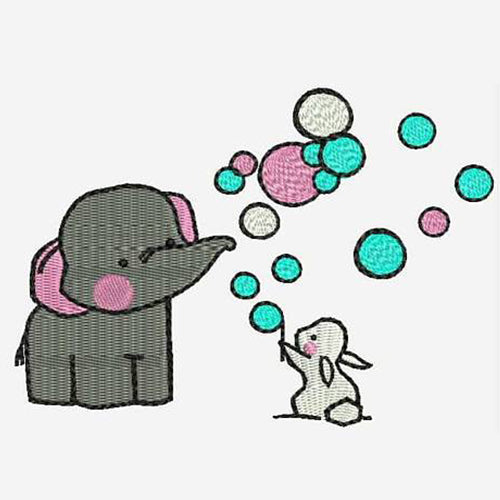 Cute Eephant + Rabbit playing with bubble Machine Embroidery Designs 72