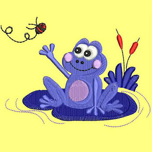 Cute Frog Machine Embroidery Designs D : 66