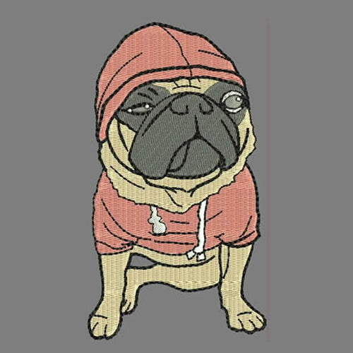 Cute Pug dog Machine Embroidery Designs