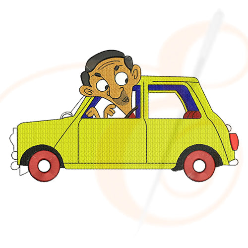 Mr Bean With Car Side View Cartoon Machine Embroidery Designs