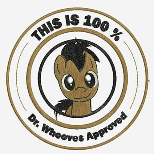 Doctor Whooves Approved Machine Embroidery Designs - My Little Pony Friendship Instant Download Filled Stitches Design 186