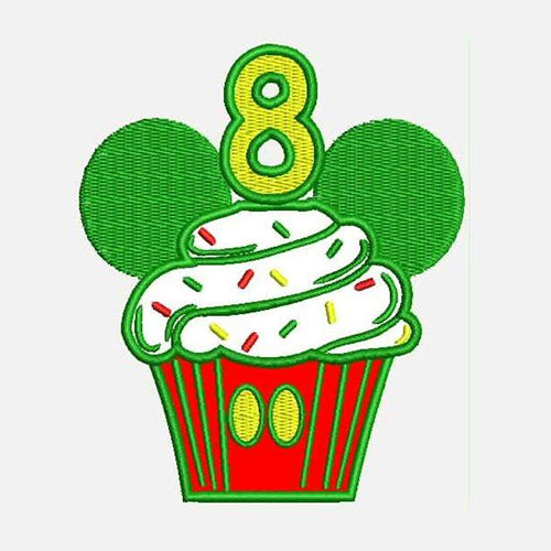 Eighth Birthday Mickey Cupcake  Machine Embroidery Designs 790H