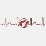 Electrocardiogram Heart Love Baseball Machine Embroidery Designs 332 A