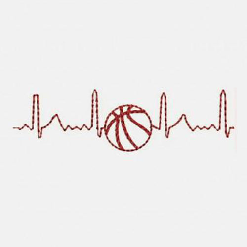 Electrocardiogram HeartLove Basketball Machine Embroidery Designs 332B