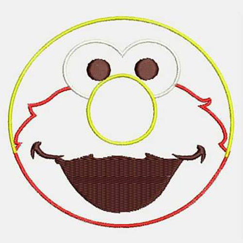 Elmo Face Machine Embroidery Designs 442A