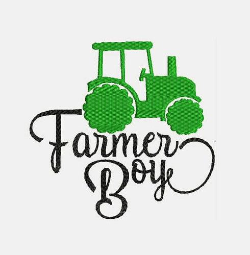 Farmer Farm Tractor Girl Driver Machine Embroidery Design B
