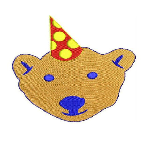 Fox face with birhday cap Machine Embroidery Designs 1226