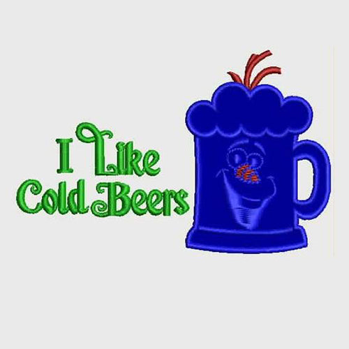I Like Cold Beers Machine Embroidery Designs 812