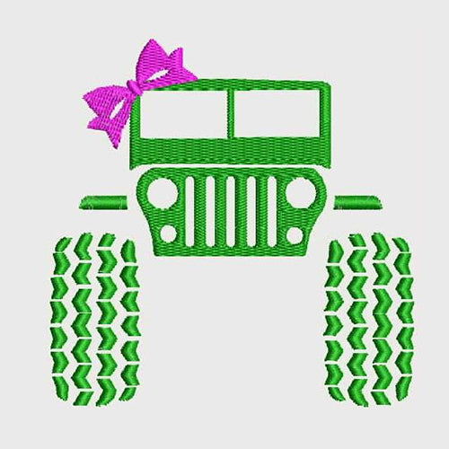 Jeep with Bow Machine Embroidery Designs 795