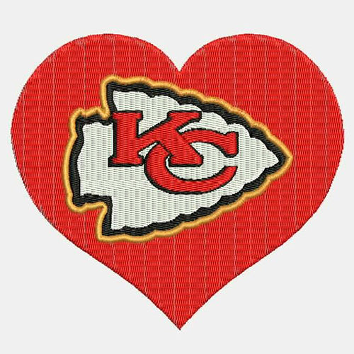 Kansas City Chiefs Logo With Heart Shape Machine Embroidery Designs 383A