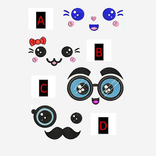 Kawaii Faces Machine Embroidery Designs Set 87
