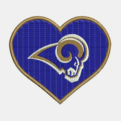 Los Angeles Rams Logo With Heart Shape Machine Embroidery Designs 382E