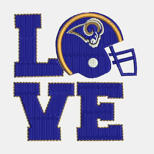 Los Angeles Rams Love with Square Machine Embroidery Designs 382B