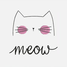 Load image into Gallery viewer, Meow Cat Machine Embroidery Designs - Kitty Cat Instant Download Filled Stitches Design 203