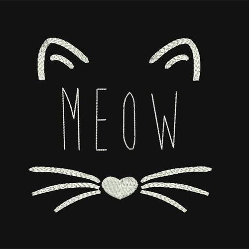 Meow Cat Machine Embroidery Designs 222