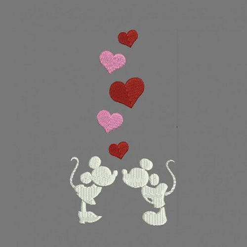 Mickey Kiss Flowy Machine Embroidery Designs 120
