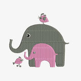 Mother's Love Baby and Mother Elephants with Birds Machine Embroidery Designs 127