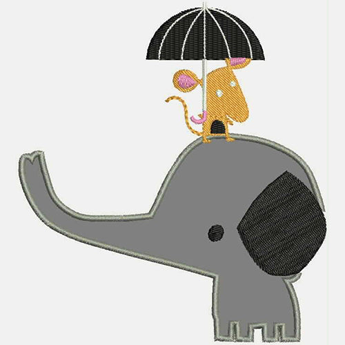 Mouse On Baby Elephant With Umbrella Machine Embroidery Designs 743