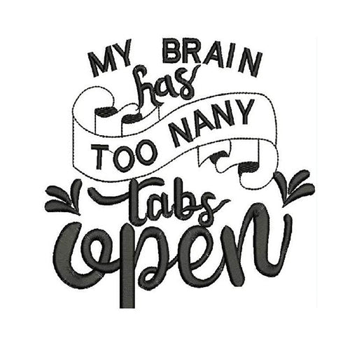 My Brain Has Too Many Tabs Open Embroidery Design - Baby Bear Embroidery Pattern - Machine embroidery Digital Dowload File - Design 2084