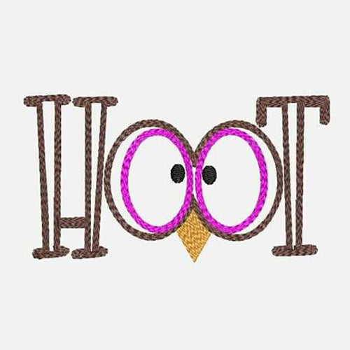 Owl Eyes Hoot Saying Machine Embroidery Designs 200