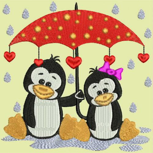 Penguins with Umbrella In thr Rain Machine Embroidery Designs 111