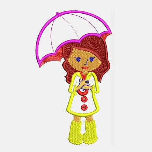 Pretty Girl With Big Umbrella Machine Embroidery Designs 363