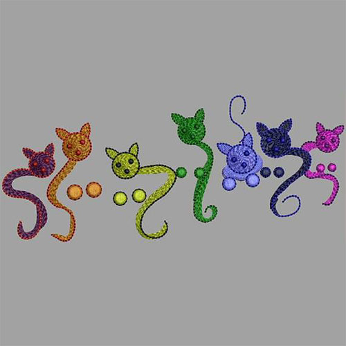 Rainbow Kittens Machine Embroidery Designs 163