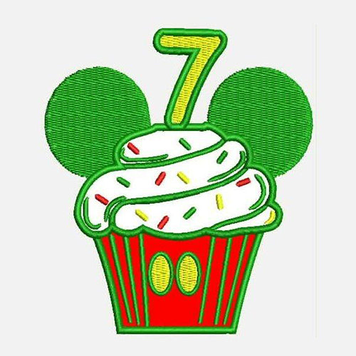 Seventh Birthday Mickey Cupcake Machine Embroidery Designs 790G