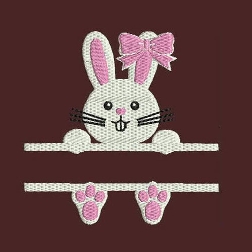 Split Frame Bunny Machine Embroidery Designs - Instant Download Applique Embroidery Design 310A