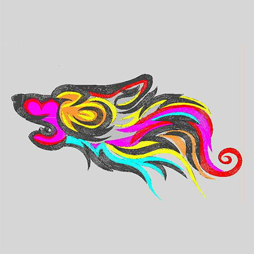 Tribal Wolf Machine  Applique filled stitch Embroidery Design D : 69