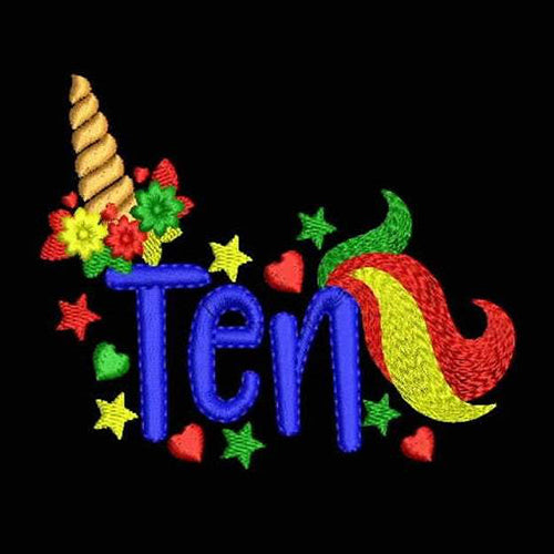 Unicorn Tenth Birthday Embroidery Designs - Instant Download Filled Stitches Design 891J