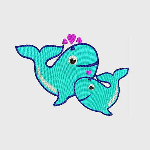 WHALES ~ Mother and Baby ~ Mother's Love Machine Embroidery Designs 211